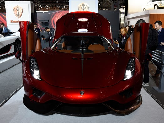 The Koenigsegg Regera is seen on display at the New