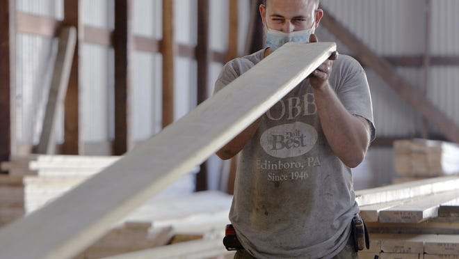 Eployee Nate Acker, 32, checks the line of a pressure-treated decking board, July 18, at Hobbes Lumber & Hardware in Edinboro.