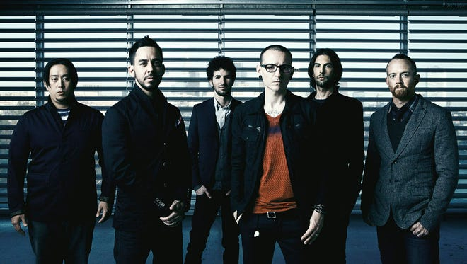 "Linkin Park, from left, Joe Hahn, Mike Shinoda, Brad Delson, Chester Bennington, Rob Bourdon, Dave ""Phoenix"" Farrell."