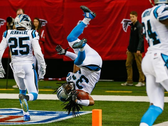 ATLANTA, GA - DECEMBER 28: Tre Boston #33 of the Carolina Panthers celebrates an interception return for a touchdown in the second half against the Atlanta Falcons at the Georgia Dome on December 28, 2014 in Atlanta, Georgia. (Photo by Kevin C. Cox/Getty Images)