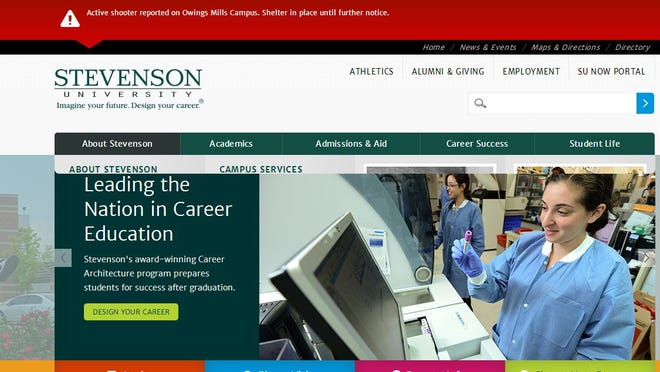 This is a screenshot of the Stevenson University web site with the warning.
