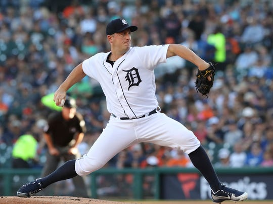 Detroit Tigers starting pitcher Jordan Zimmermann throws during the first inning of a baseball game against the Texas Rangers, Friday, July 6, 2018, in Detroit.