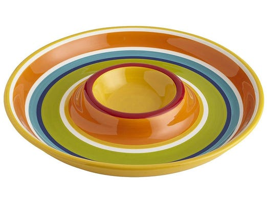 'Tis the season for grilling out. Stripes chip and dip bowl, $23.96 at Pier 1 Imports. (Gannett/File)