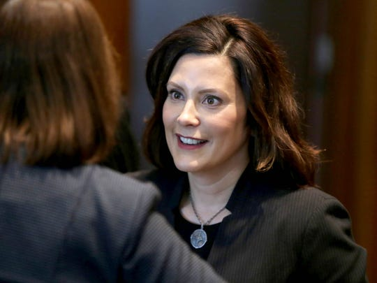 Democratic candidate for Michigan governor Gretchen Whitmer at the swearing-in ceremony for the City of Detroit officials in Detroit on Tuesday, January 9, 2018.