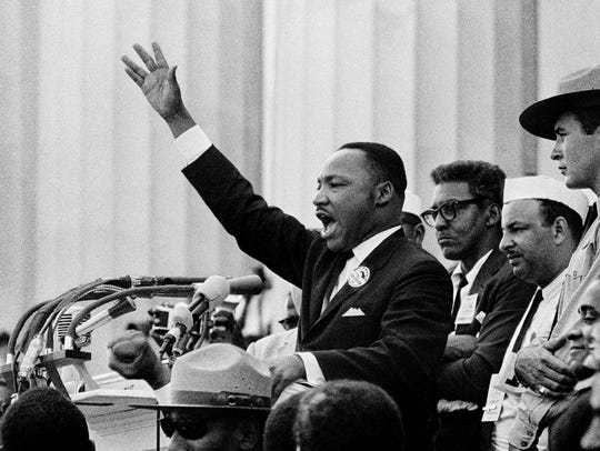 "Martin Luther King Jr. gives his ""I Have a Dream"" speech"