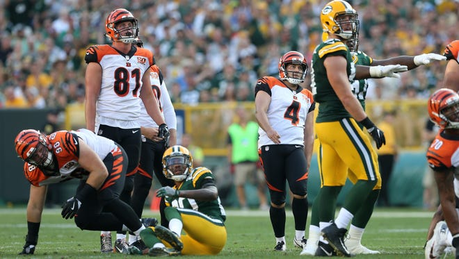 Cincinnati Bengals kicker Randy Bullock (4) reacts after missing a field goal in the third quarter during the Week 3 NFL football game between the Cincinnati Bengals and the Green Bay Packers, Sunday, Sept. 24, 2017, at Lambeau Field in Green Bay, Wisconsin.