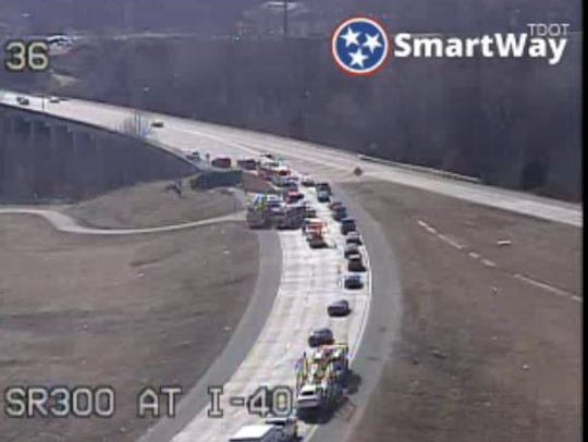 Traffic backs up on I-40 ramp after driver of dump truck was killed after truck overturns on Feb. 2.