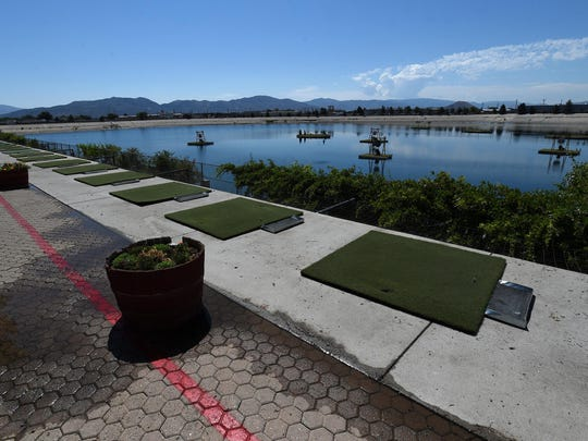 The Sierra Bay Aqua Golf driving range is seen at the Grand Sierra Resort & Casino in Reno on July 21, 2015.