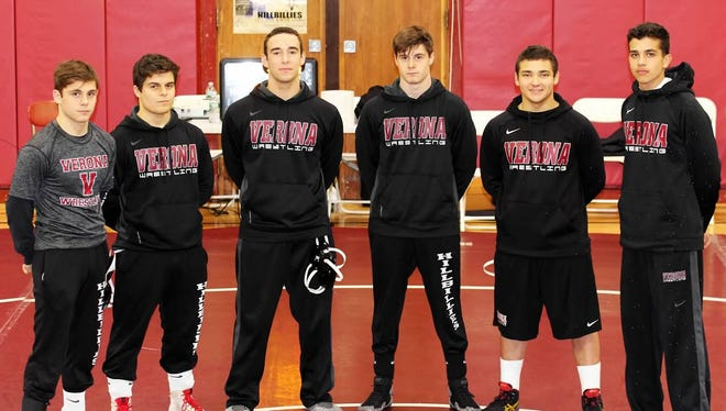 Verona wrestling's 2018 seniors: (left to right) Frank Gabriele, Matt DiDia, Billy Fauerbach, John Gabriele, Shea Herko and Tyler Czupak.