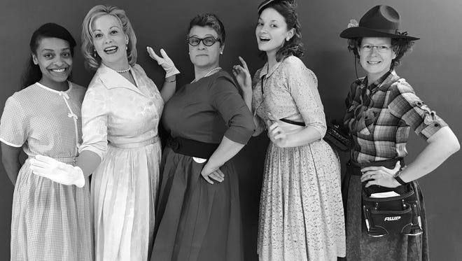 """Naomi Ansano, Tracey Johnston-Crum, Delina Hensley, Carrie Kimbrell Kimzey and Kim Richardson are the five lesbians of """"5 Lesbians Eating a Quiche"""" at the BeBe Theatre."""