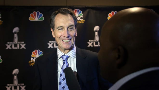 NBC Sports analyst Cris Collinsworth talks to reporters during the NBC Sports Group Press Conference at Media Center-Press Conference Room B.
