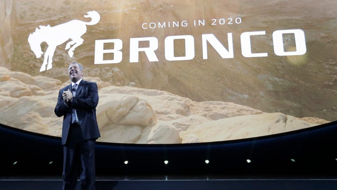 Ford Executive Vice President and President of the Americas for Ford Motor Company, Joe Hinrichs announces plans for a 2020 Bronco at the North American International Auto show, Monday, Jan. 9, 2017, in Detroit.