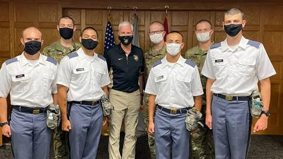 U.S. Rep. Steve Womack, center, stands with West Point Class of 2024 cadets from Arkansas's 3rd Congressional District. Pictured are Isaac Drewry of Harrison; back left; Womack; Kristopher Bailey of Fort Smith; and Garrett Chrisman of Rogers. In the front row, left to right, are Jonathon Guthrie of Bentonville; Curtis Josenberger Jr. of Fort Smith; Kayden Eckman of Eureka Springs; and Jacob Carswell of Branson, Missouri.