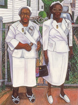 Two Marys, 1998, by Willie Birch.