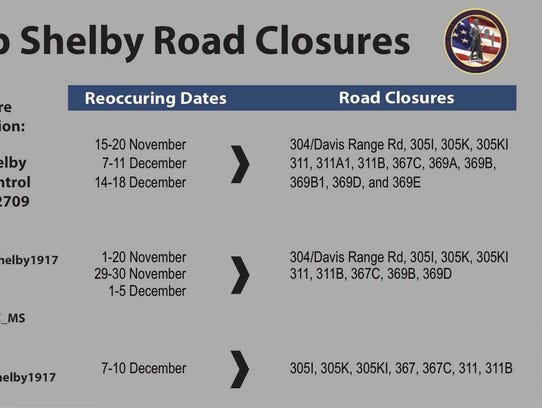 Camp Shelby road closures schedule, locations