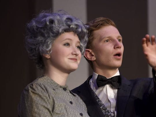 "In this file photo, Rose Peterschmidt, as Ethel, and Joshua Peffley, as Hannibal, run through a dress rehearsal for Cedar Crest High School's performance of ""The Curious Savage."""