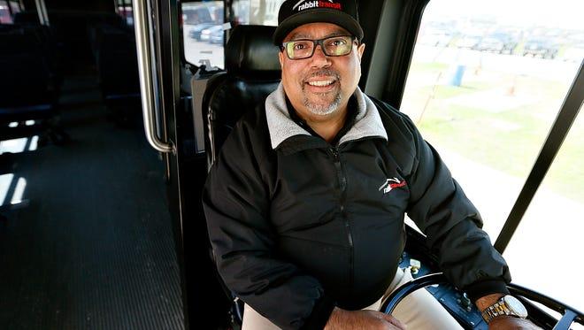 Rabbit Transit Driver Tony Maldonado is shown at the headquarters in York City, Wednesday, April 6, 2016. Maldonado has been driving for Rabbit Transit for 35 years.