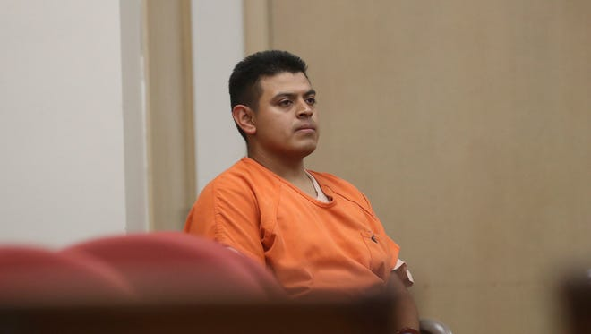 In this July 29, 2016, file photo, Edwin Lara, a security guard at Central Oregon Community College in Bend, Ore., waits in court in Yreka, Calif., for his arraignment. Oregon officials say the state will seek a sentence of death against Lara, charged with killing a woman whose body was found near an Oregon highway. (Greg Barnette/The Record Searchlight via AP, File)