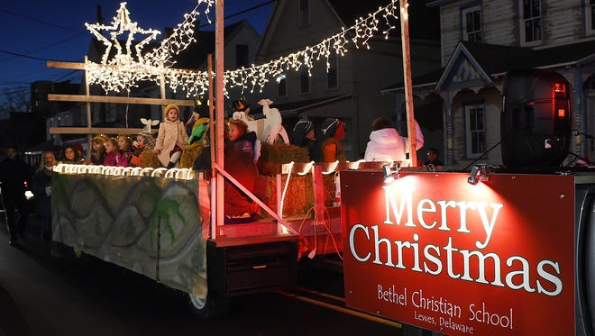 The Bethel Christian School float in the 2015 Lewes Chamber of Commerce Christmas Parade.