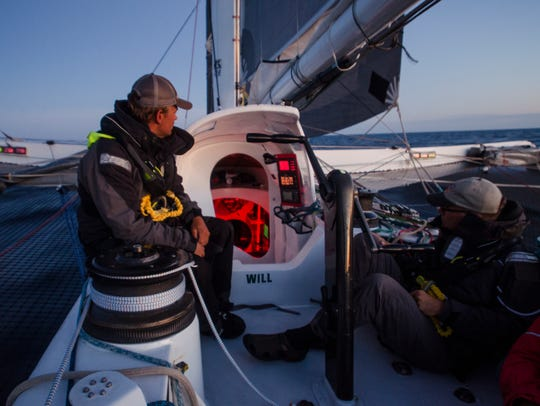 Arete crew member Don Massey keeps watch during the