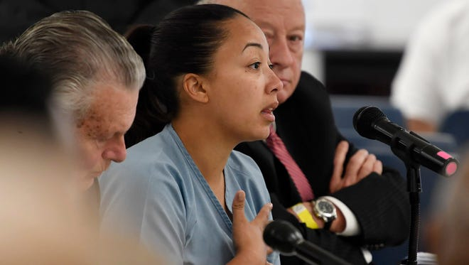 Cyntoia Brown, the Nashville woman sentenced to life in prison at age 16 for the murder of a stranger who picked her up at a fast-food restaurant, speaks at her clemency hearing May 23, 2018, at the Tennessee Prison for Women in Nashville. It was her first bid for freedom before a parole board since the 2004 crime.