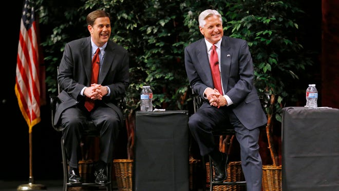 Republican Doug Ducey and Democrat Fred DuVal during their first debate.