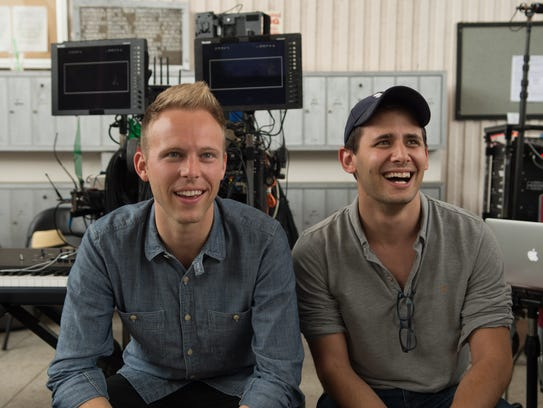 Justin Paul (left) and Benj Pasek, lyricists for 'La