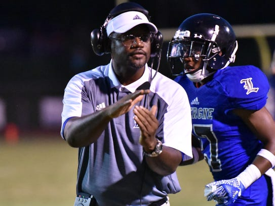 La Vergne coach Stanton Stevens encourages his troops