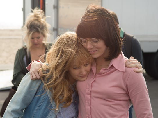 "Andrea Riseborough (left) and Emma Stone star in ""Battle"