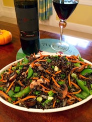 Mushrooms, carrots and pea pods join wild rice in this