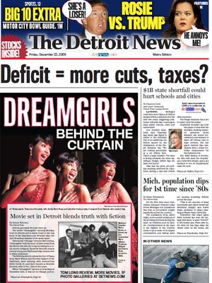The front page of The Detroit News on Dec. 23, 2006.