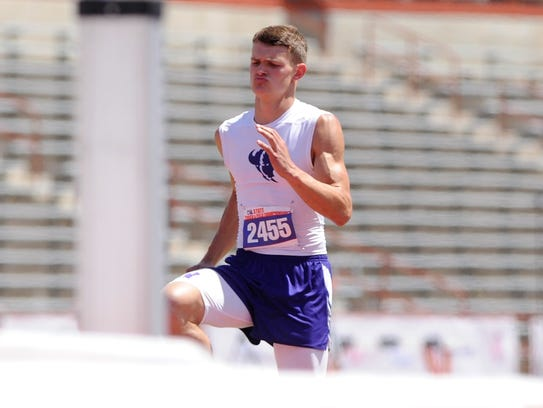 Cross Plains' Creed Goode warms up before attempting a jump at the Class 1A boys high jump at the UIL State Track and Field Championships. He won the gold medal with a jump of 6 feet, 3 inches.