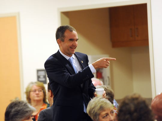 Virginia Lt. Gov. Ralph Northam points to an attendee before the start of the local United Way's 2016 Campaign Kickoff Breakfast on Friday, Sept. 9, 2016 at Eastern Shore Community College. Northam was the keynote speaker at the event.