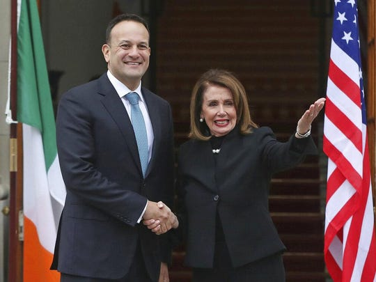 House Speaker Nancy Pelosi is greeted this week by Ireland's Prime Minister Leo Varadkar. In the wake of the release of Robert Mueller's redacted report on Russian influence in U.S. elections, she said, 'Congress will not be silent.'