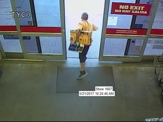 Police said this man shoplifted two power-tool kits