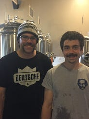 Andy Cook, owner, and Pat Meehan, brewer, at Swiftwater