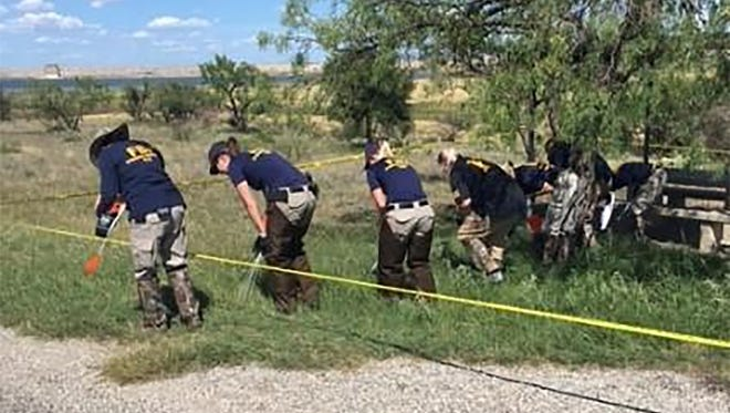 The Federal Bureau of Investigation Evidence Response Team is assisting the Tom Green County Sheriff's Office in two crime scene searches related to the 1988 homicides of Sally McNelly and Shane Stewart on July 10, 2017.