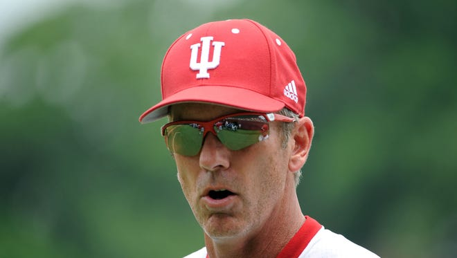 Indiana Hoosiers head coach Tracy Smith (13) before the game against the Florida State Seminoles during the Tallahassee super regional of the 2013 NCAA baseball tournament at Dick Howser Stadium on June 9, 2013.