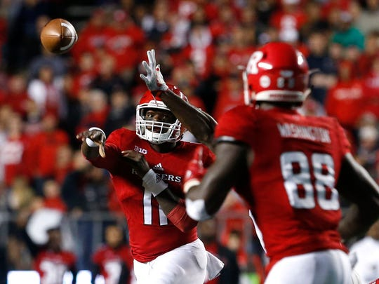 Rutgers quarterback Johnathan Lewis (11) throws a pass to  tight end Jerome Washington (88) during the first half against Ohio State at High Point Solutions Stadium.