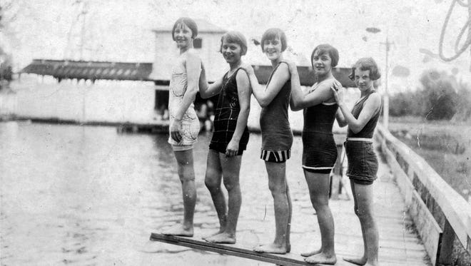 From left:  Myrtle Andrus, Mary Boutte, Aurelina Campbell, Vernie St. Cyr, and  Mary Alice Andrus enjoy the Wallior Swimming Pool in Opelousas during the 1920s.