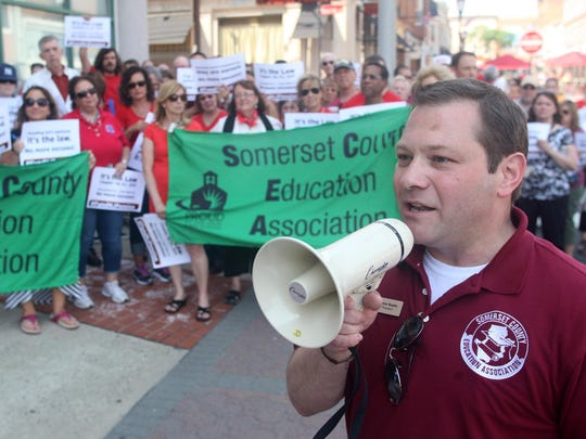 "Somerset County Education Association President Steve Beatty speaks at a ""fund the pension"" rally on Monday in Somerville."