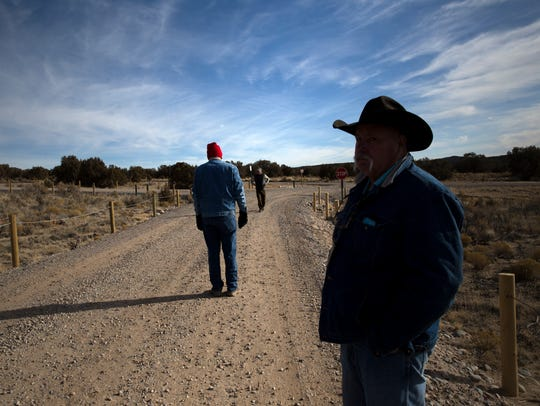 From left, Grant Glover and Mike Eisenfeld tour the new campgrounds on Wednesday, Jan. 31, at the Brown Springs Campground north of Farmington.