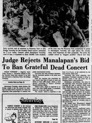 A headline in the Sept. 3, 1977 Asbury Park Press highlights Judge Yaccarino's decision not to block the Grateful Dead show at Raceway Park.