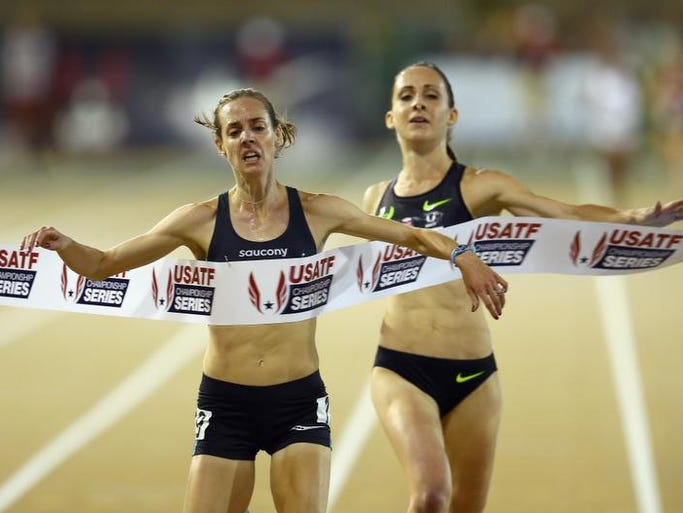 Molly Huddle wins the Women's 5000 Meter Run on day 3 of the USATF Outdoor Championships at Hornet Stadium on June 27, 2014 in Sacramento, Calif.