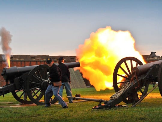 Lance Gambrell, graduate of NMSU's Public History Program, shoots a cannon at Georgia's Fort Pulaski National Monument as a Civil War re-enactor. Many NMSU students have interned in various park units and have also found careers upon completion of their degrees.