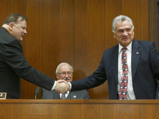 Ocean County Freeholder Joe Vicari (right) was chosen as Freeholder Director replacing John P. Kelly (left) at the Ocean County Administration Building in Toms River, NJ, Wednesday, January 4, 2017.