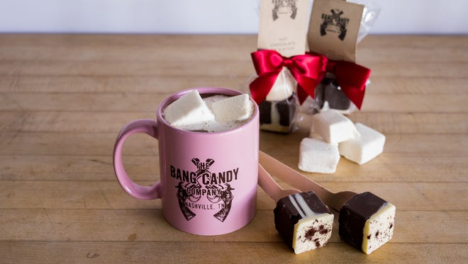 Bang Candy Company sells hot chocolate on a stick for the holidays.