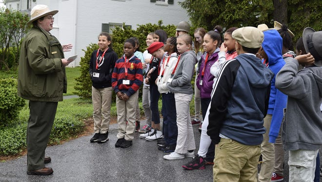 York City school students gather at the Eisenhower National Historic Site.