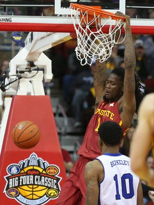 Iowa State's Jameel McKay dunks during Saturday's 83-54 Big Four Classic victory over Drake at Wells Fargo Arena. McKay earned his first action of the season, playing 13 minutes and tallying eight points, five rebounds and an assist.