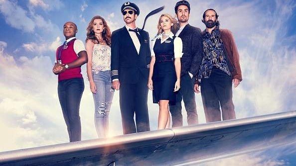 "Fox's comedy ""LA to Las Vegas,"" from left, Nathan Lee Graham, Olivia Macklin, Dylan McDermott, Kim Matula, Ed Weeks and Peter Stormare."